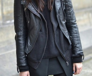 black, fashion, and leather look image