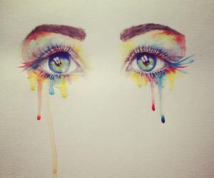 drawing, dripping, and eyes image