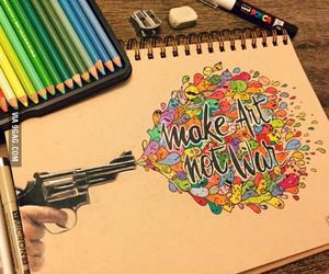 art, drawing, and gun image