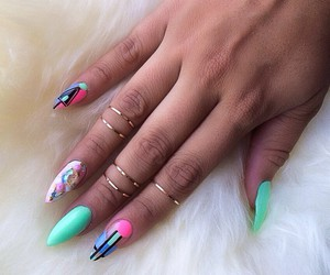 fashion, nail art, and gold rings image