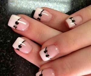 nails, nail art, and bow image