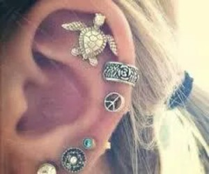earrings, piercing, and turtle image