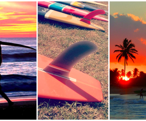 beach, suntan, and surfboards image
