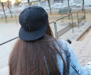 back, black, and cap image