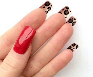 nails fashion red leopard image
