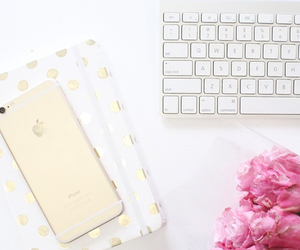 keyboard, pink rose, and gold iphone image