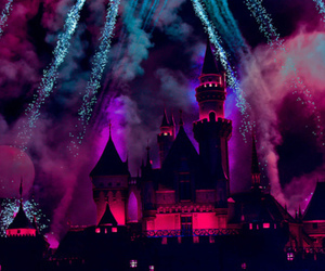 disney, castle, and fireworks image