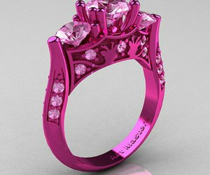 wedding ring, pink gold, and pink sapphire image