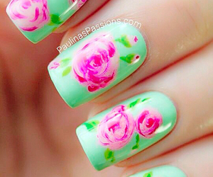 floral, green, and pink image