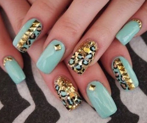 gold, nail art, and turquoise image
