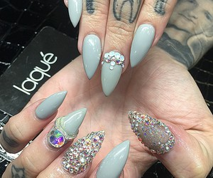 nails, nail jewels, and nail design image