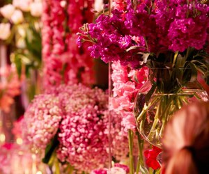 centrepiece, flowers, and pink image