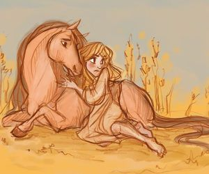 girl, horselover, and horse image