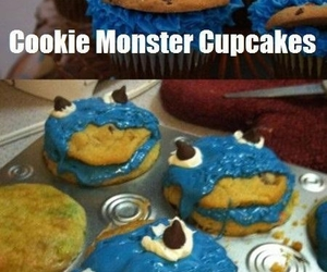 funny, cookie monster, and cupcake image
