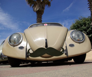 car and mustache image