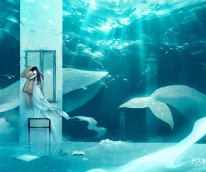 anime, whale, and girl image