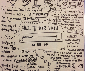 all time low, bands, and doodles image