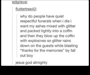 fall out boy, glitter, and funeral image