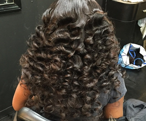 curls, extensions, and long image