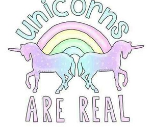 unicorn, rainbow, and real image