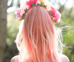 colored hair, flowers, and girl image