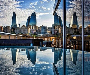 baku, azerbaijan, and clouds image
