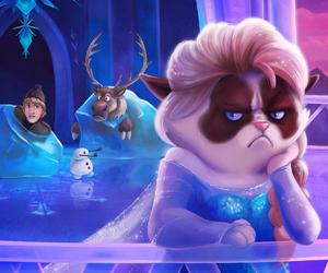 frozen, elsa, and grumpy cat image