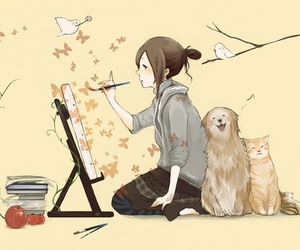 anime, dog, and cat image