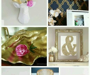 gold mirror, gold canvas, and gold trays image