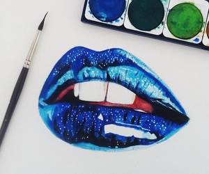 lips, art, and blue image