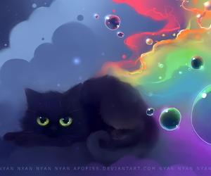 cat, bubbles, and rainbow image