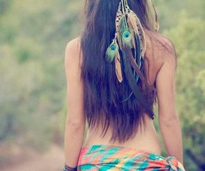 feather, girl, and hair image