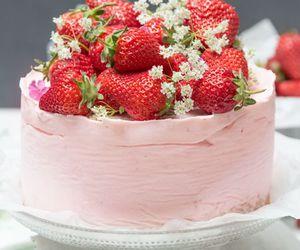 cake, strawberry, and sweet image