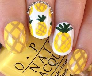 nail polish, nails, and pineapple image