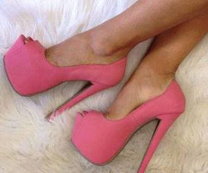pink, heels, and high heels image