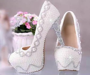 shoes, white, and pearls image