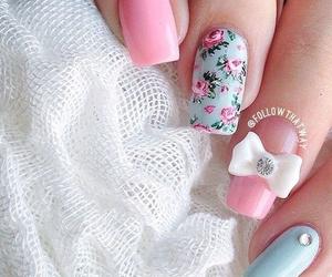 floral, nail art, and pink image