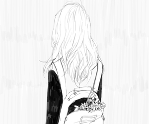girl, flowers, and manga image