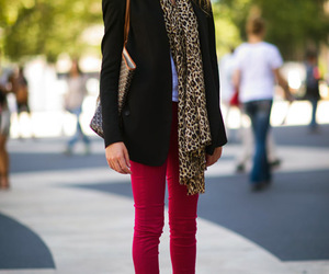 fashion, scarf, and skinny jeans image