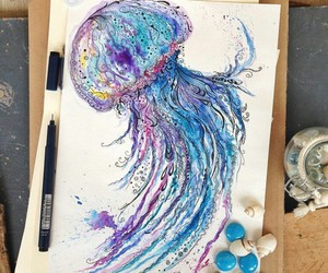art, drawing, and jellyfish image