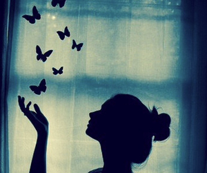 butterflies, shadow, and girl image
