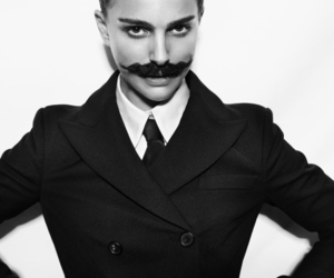 natalie portman, mustache, and black and white image