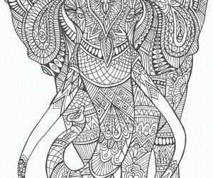 elephant, art, and coloring image