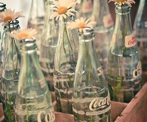 flowers, coca cola, and bottle image