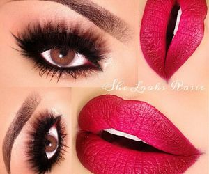 beauty, eye lashes, and eye shadow image