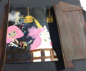 acrylic, Collage, and pink image