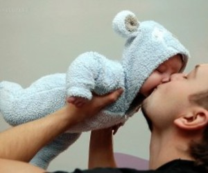 child, dad, and love image