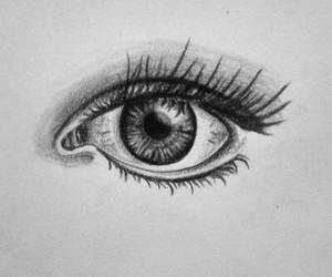 draw, eyes, and black& white image