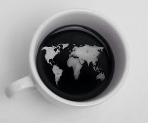 world, coffee, and black and white image