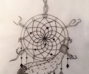 art, dreamcatcher, and feather image